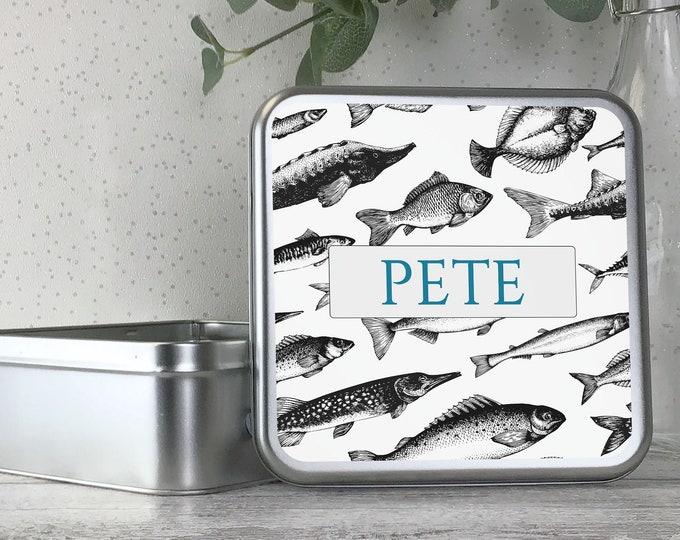Personalised metal tin storage box gift idea, fishing tackle, angling, fisherman, angler, tackle box, fishing gift, bait tin - TS17-FISH2