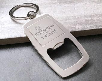 Personalised engraved GROOMSMAN bottle opener keyring wedding thank you gift idea - HT9