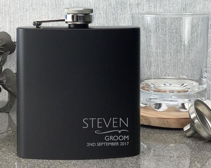 Engraved GROOM hip flask wedding gift, Laser engraved personalised black hip flask, presentation gift box - NYM5