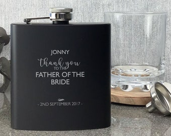Personalised engraved FATHER of the BRIDE hip flask WEDDING gift idea, black coated stainless steel presentation box - STE5