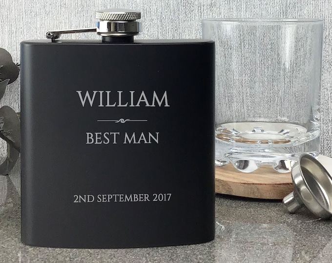 Personalised engraved BEST MAN hip flask WEDDING gift idea, black coated stainless steel presentation box - RET1