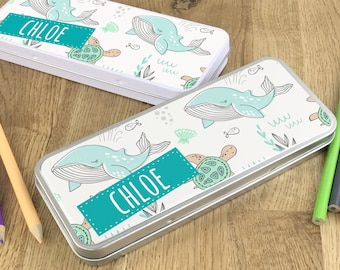 Personalised sealife whales pencil tin, kids pencil case gift idea - NSTPC39