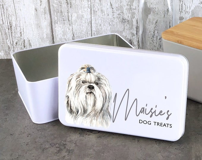 Personalised dog treat storage tin, biscuit tin pet gift, Shih Tzu dog theme - W235-DOG9