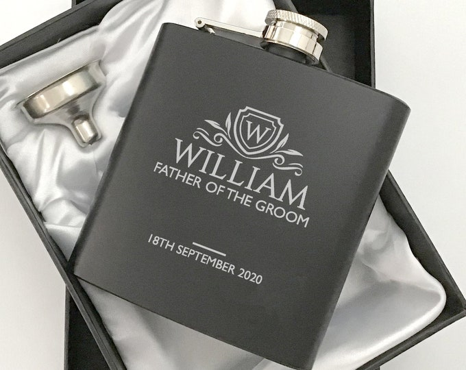 Laser engraved FATHER of the GROOM hip flask personalised wedding gift idea, black flask, presentation gift box, monogram, crest - 6BH-WM1