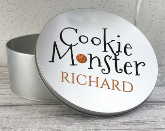 Personalised cookie monster biscuit tin box gift, metal storage tin box gift idea, biscuit and cookie tin RTN-TN32