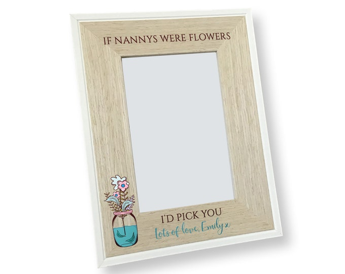 Personalised 4x6 photo frame gift for a mum nanny auntie - floral picture frame - SAH-FL1