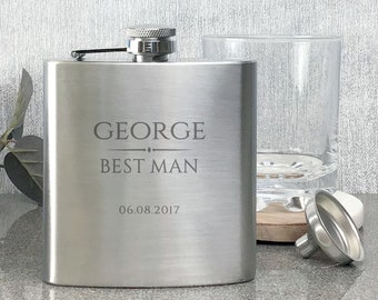 Personalised engraved BEST MAN hip flask wedding thank you gift, stainless steel presentation box - BR9
