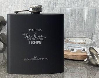 Personalised engraved USHER hip flask WEDDING gift idea, black coated stainless steel presentation box - STE3