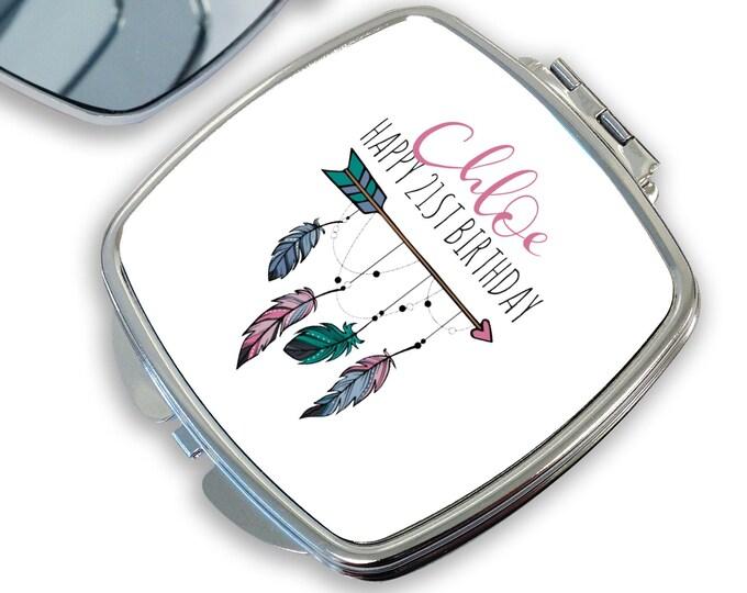 Personalised 21ST BIRTHDAY gift, compact mirror, makeup mirror, handbag mirror, pocket mirror - DSQ-BOH21