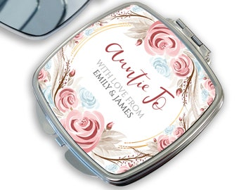 Personalised compact mirror AUNTIE gift for her, makeup mirror, handbag mirror, pocket mirror - DSQ-RS3