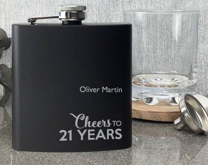 Engraved BIRTHDAY hip flask gift for him, matt black stainless steel 6oz flask, presentation gift box - LCHE70BK