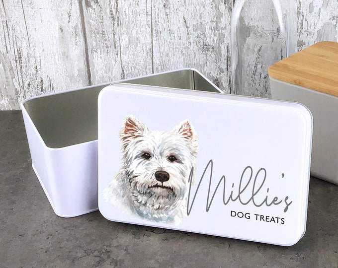 Personalised dog treat storage tin, biscuit tin pet gift, West Highland Terrier dog theme - W235-DOG10
