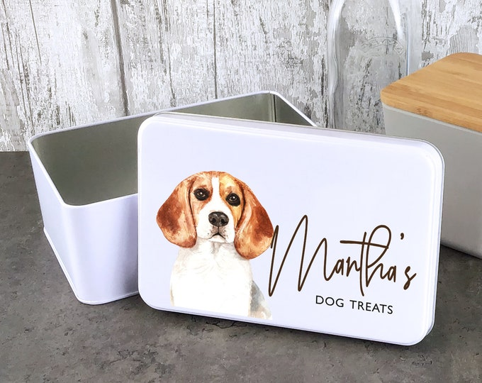 Personalised dog treat storage tin, biscuit tin pet gift, Beagle dog theme - W235-DOG6
