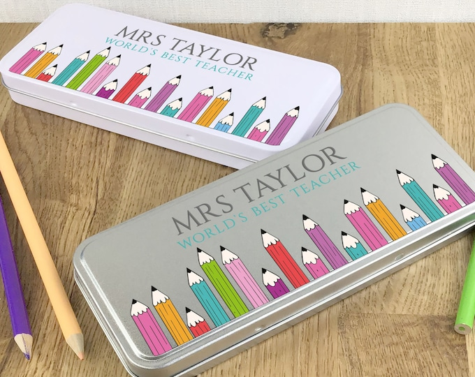 Personalised TEACHER gift idea, printed pencil tin case, end of term thank you gift idea - crayons STPC-T1