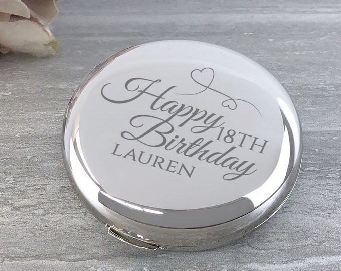 Engraved BIRTHDAY compact mirror gift for her, SILVER plated, Happy Birthday - BDAY