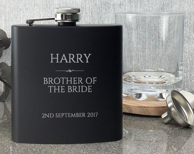 Personalised engraved BROTHER of the BRIDE hip flask WEDDING gift idea, black coated stainless steel presentation box - RET7