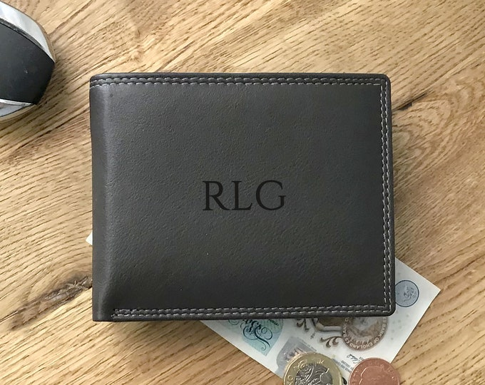 Engraved personalised monogram, monogrammed genuine leather wallet gift for him, dark brown trifold, coin pocket - DAL3MON