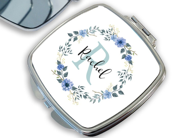 Personalised compact mirror gift for her, initial monogram floral makeup mirror, handbag mirror, pocket mirror - DSQ-INI