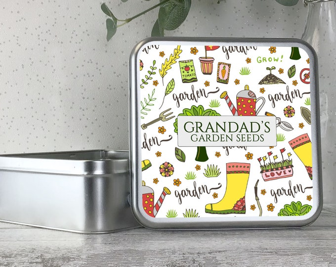 Personalised metal tin garden allotment seed storage box gardener gift, gardening gift idea - TS17-TN31