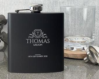 Laser engraved GROOM hip flask personalised wedding gift idea, black flask, presentation gift box, monogram, crest - 6BH-WM3