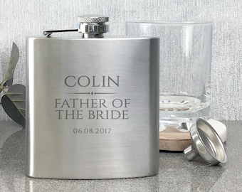 Personalised engraved FATHER OF the BRIDE hip flask wedding thank you gift, stainless steel presentation box - BR1