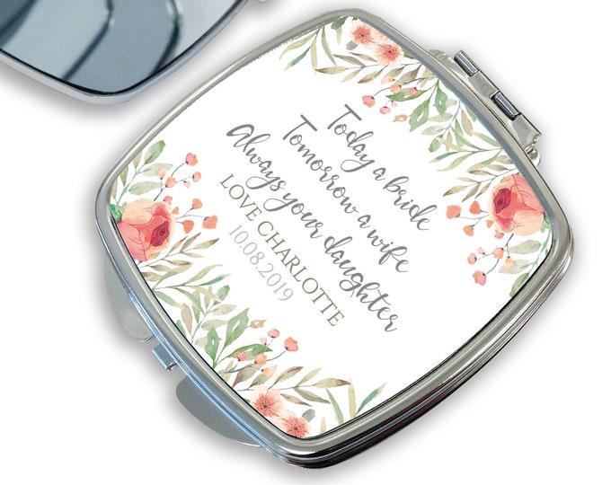 Personalised MOTHER of the BRIDE compact mirror wedding gift, Today a Bride, handbag mirror, pocket mirror - DSQ-WF11