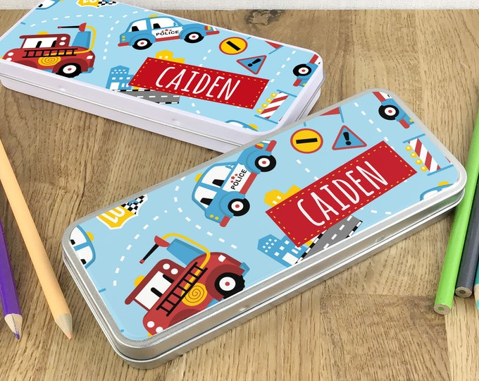 Personalised fire engine emergency police pencil tin, kids pencil case gift idea - NSTPC35