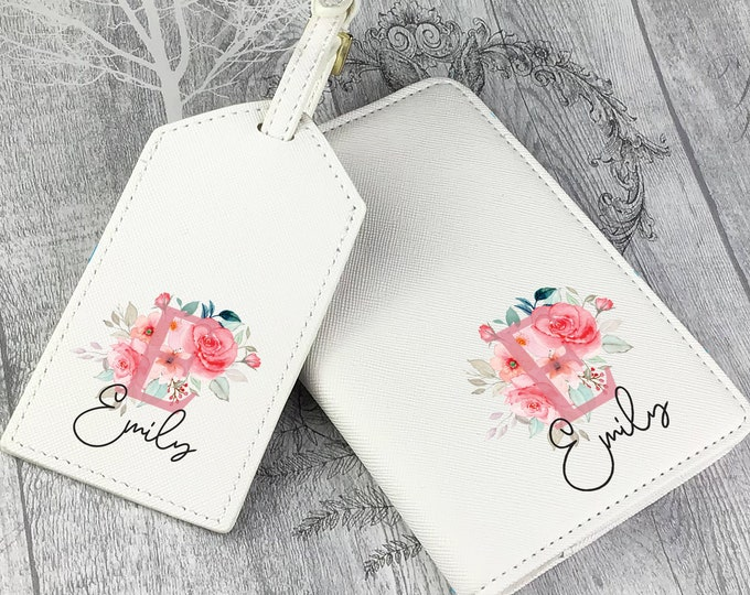 Personalised luggage tag and passport holder set, compass, monogram passport case, travel gift idea, wedding hen party - TV-IN2