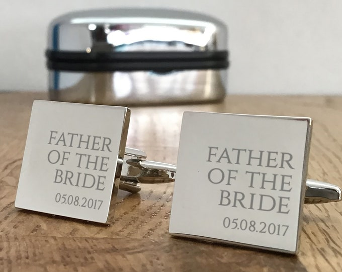 Personalised engraved FATHER of the BRIDE wedding cufflinks gift, choice of cufflinks box - RR1