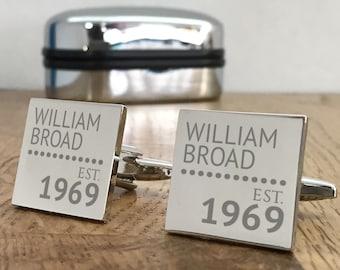 Personalised engraved BIRTHDAY cufflinks gift idea, choice of cufflink box, Established - ES