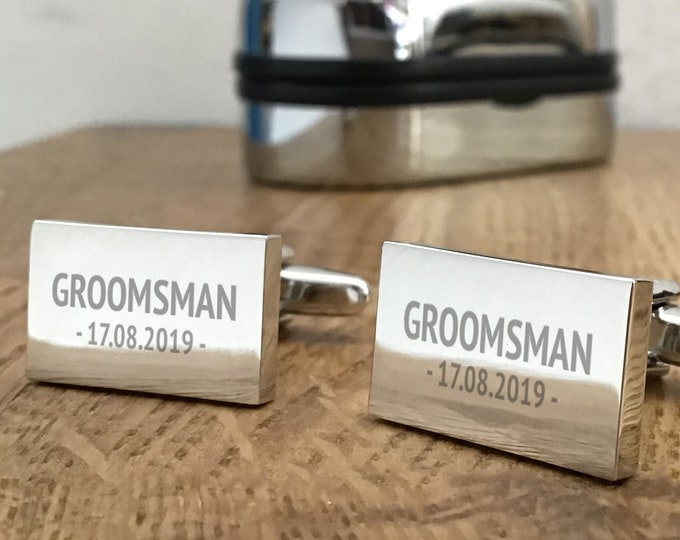 Engraved GROOMSMAN silver cufflinks, personalised wedding gift, cufflink box - RPL4