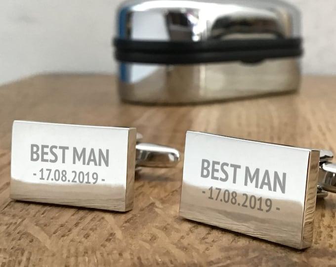 Engraved BEST MAN silver cufflinks, personalised wedding gift, cufflink box - RPL3
