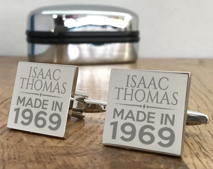 Personalised engraved BIRTHDAY cufflinks gift for him, choice of cufflink box - MAD