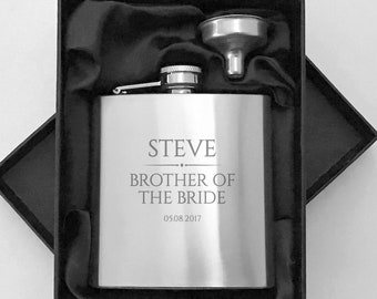 Personalised engraved BROTHER OF the BRIDE hip flask wedding thank you gift, stainless steel presentation box - BR3