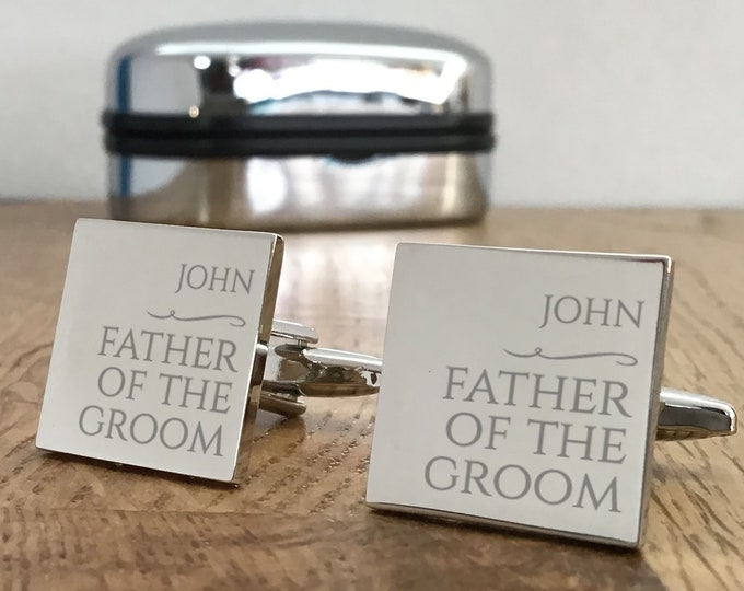 Personalised engraved FATHER of the GROOM wedding cufflinks, cufflink presentation box - NY2
