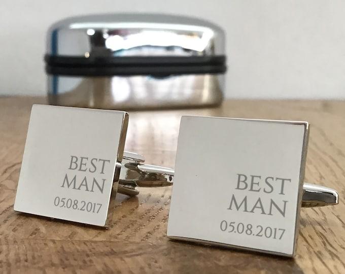 Personalised engraved BEST MAN wedding cufflinks gift, cufflink box - RR7