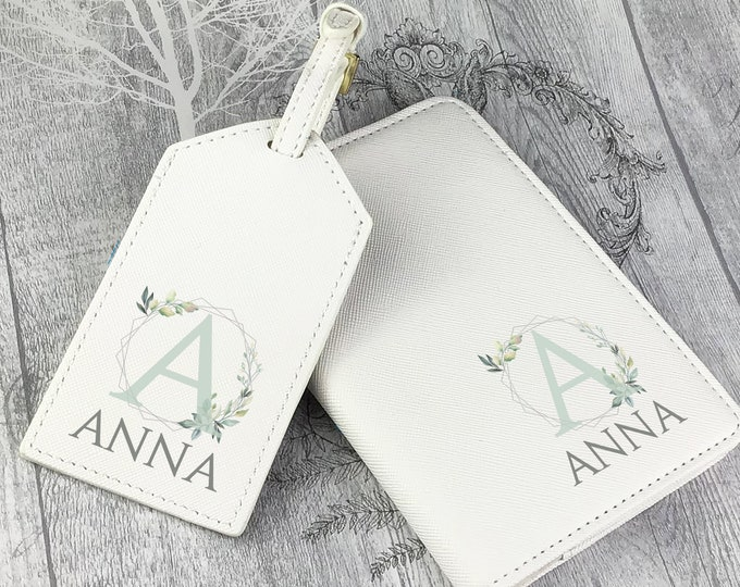Personalised luggage tag and passport holder set, compass, monogram passport case, travel gift idea, wedding hen party - TV-NM1