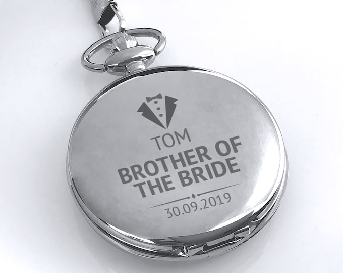 Engraved BROTHER of the BRIDE pocket watch gift, personalised watch wedding gift, watch chain and presentation tin gift box - PW-WD3