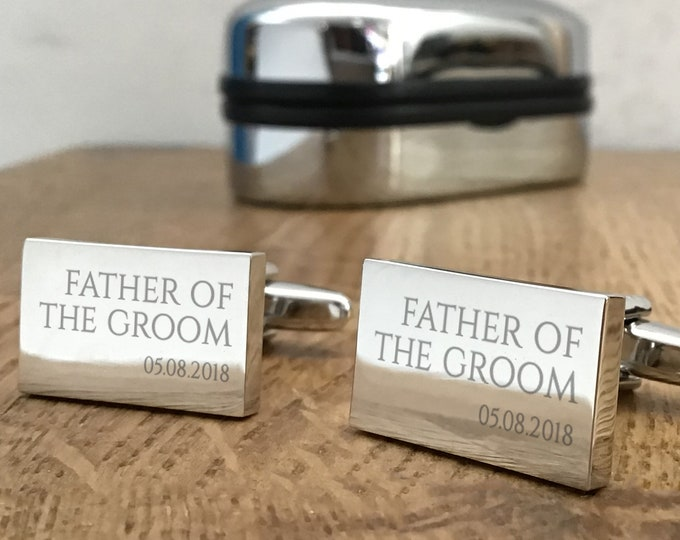 Engraved FATHER of the GROOM wedding cufflinks, personalised cuff links, choice of cufflink box - RED2