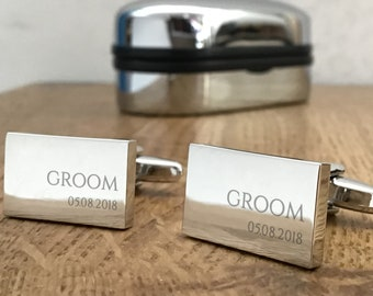 Engraved GROOM wedding cufflinks, personalised cuff links, choice of cufflink box - RED5