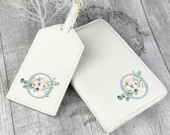 Personalised luggage tag and passport holder set, compass, monogram passport case, travel gift idea, wedding hen party - TV-IN1