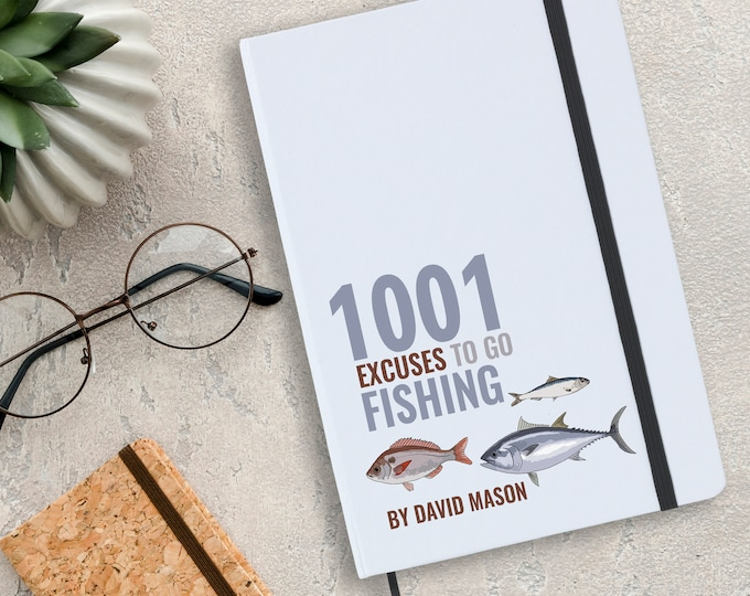 Personalised notebook fishing gift idea, 1000 excuses to go fishing, angling angler gift, A5 planner journal note book - NA5W-FI1