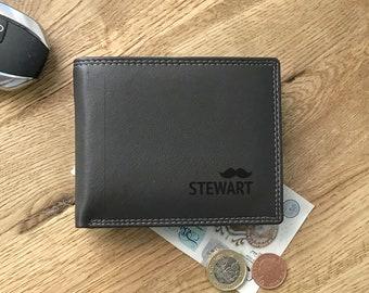 Engraved MONOGRAM brown leather wallet gift, personalised monogrammed gift for him - DALSLBK6