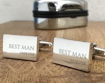 Engraved BEST MAN wedding cufflinks, personalised cuff links, choice of cufflink box - RED7
