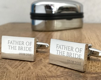 Engraved FATHER of the BRIDE wedding cufflinks, personalised cuff links, choice of cufflink box - RED1