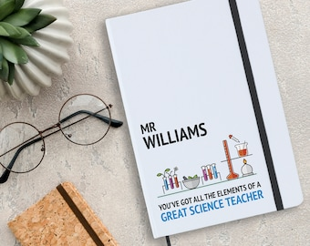 Personalised science teacher notebook gift idea, physics chemistry biology teacher gift, A5 planner journal note book - NA5W-TE1