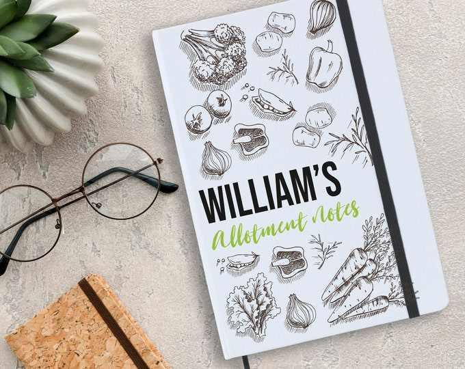 Personalised A5 notebook gift idea, Gardener gardening allotment notes - NA5W-AL1