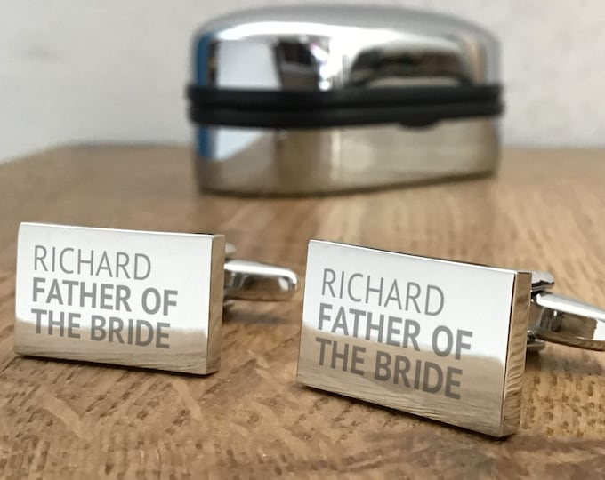 Engraved FATHER of the BRIDE cufflinks, personalised wedding gift, choice of cuff link box - REP1