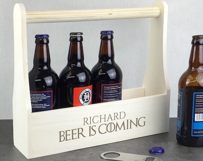 Personalised wooden beer caddy gift. Laser engraved beer lover gift idea, beer bottle holder. Beer is Coming LBC-2