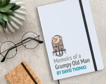 Personalised grumpy old man memoirs notebook gift idea for daddy, grandad, uncle, brother, husband. A5 planner journal note book - NA5W-MA1